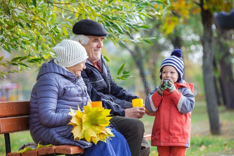 Ältere Paare und Enkel, die heißen Tee im Park trinkt lizenzfreies stockbild