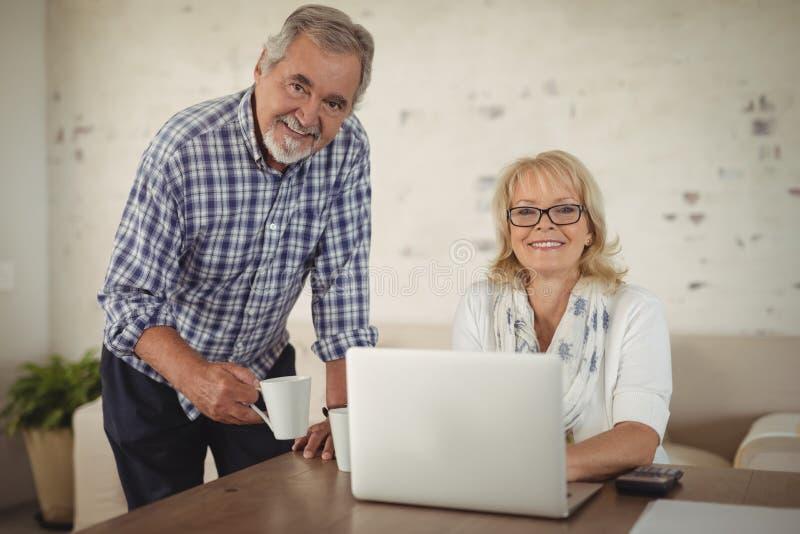 Ältere Paare unter Verwendung des Laptops zu Hause lizenzfreie stockfotos