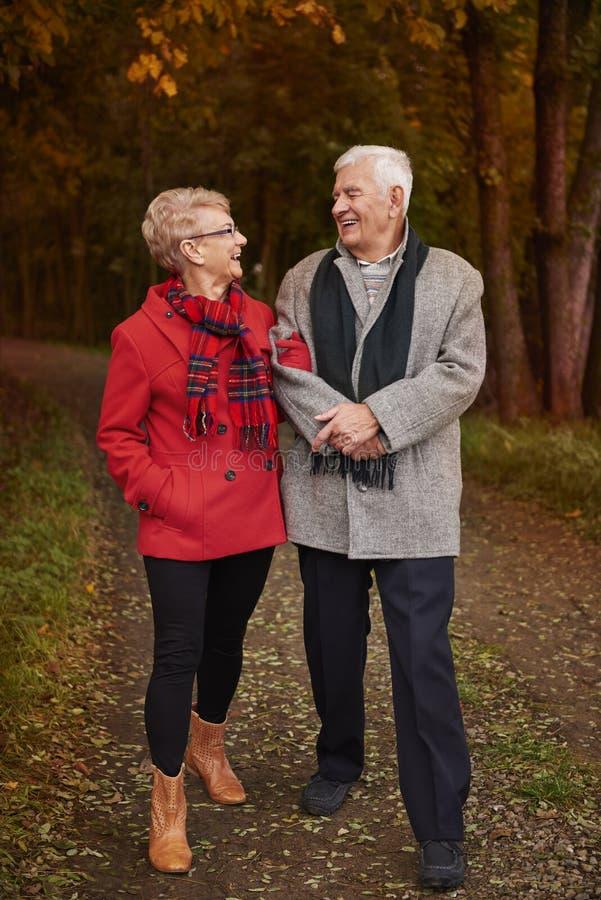 Ältere Paare während des Herbstes lizenzfreie stockfotografie