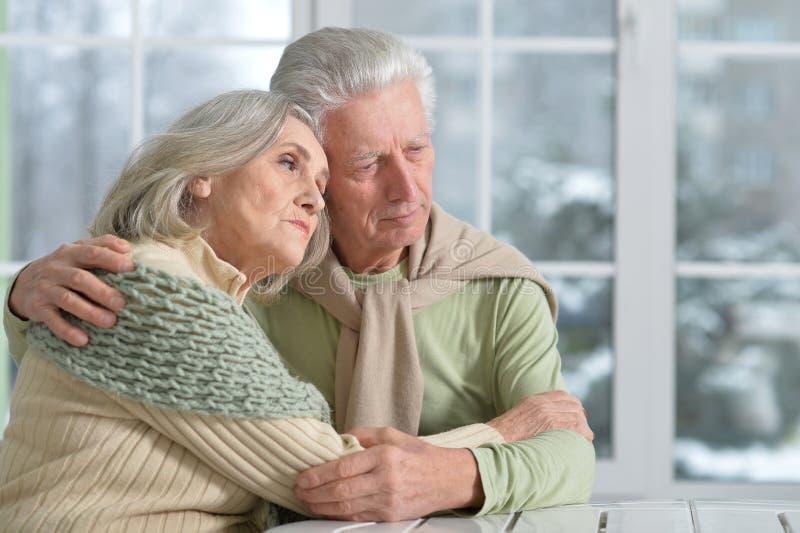 Ältere Paare zu Hause stockbild