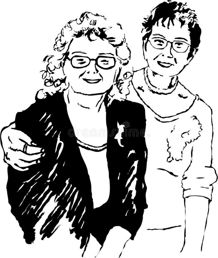 Ältere Schwestern stock abbildung
