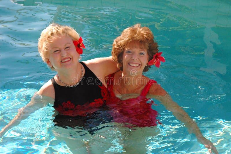 Ältere schwimmende Freunde lizenzfreie stockfotos