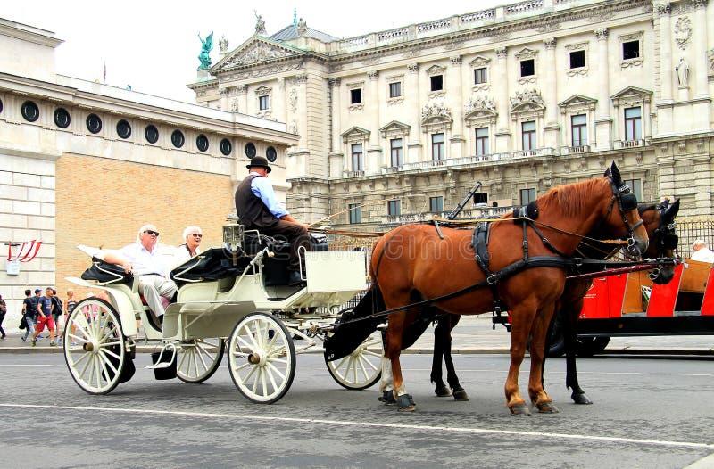 Ältere Touristen fahren auf einen gehenden Trainer und hören ein Kutscherführer lizenzfreie stockbilder