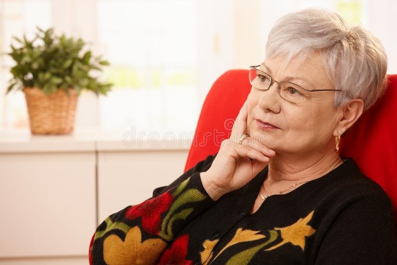 Ältere träumende Frau lizenzfreies stockfoto