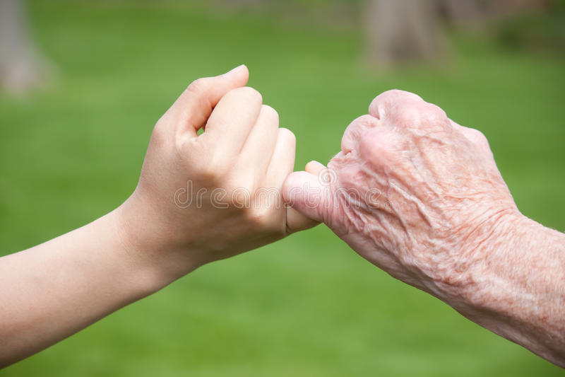 Ältere und junge Handversprechung stockbild
