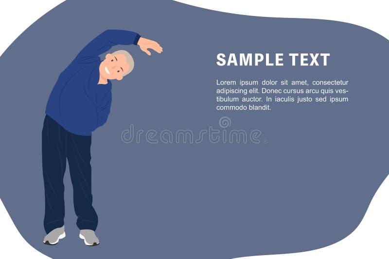 Älterer alter Mann der Karikaturleute-Charakterentwurfs-Fahnenschablone, der das Ausdehnen zu einer Seite ausübt vektor abbildung