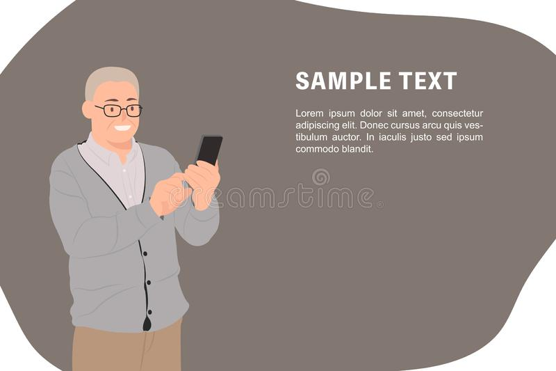 Älterer alter Mann der Karikaturleute-Charakterentwurfs-Fahnenschablone, der glücklich intelligentes Telefon betrachtet stock abbildung