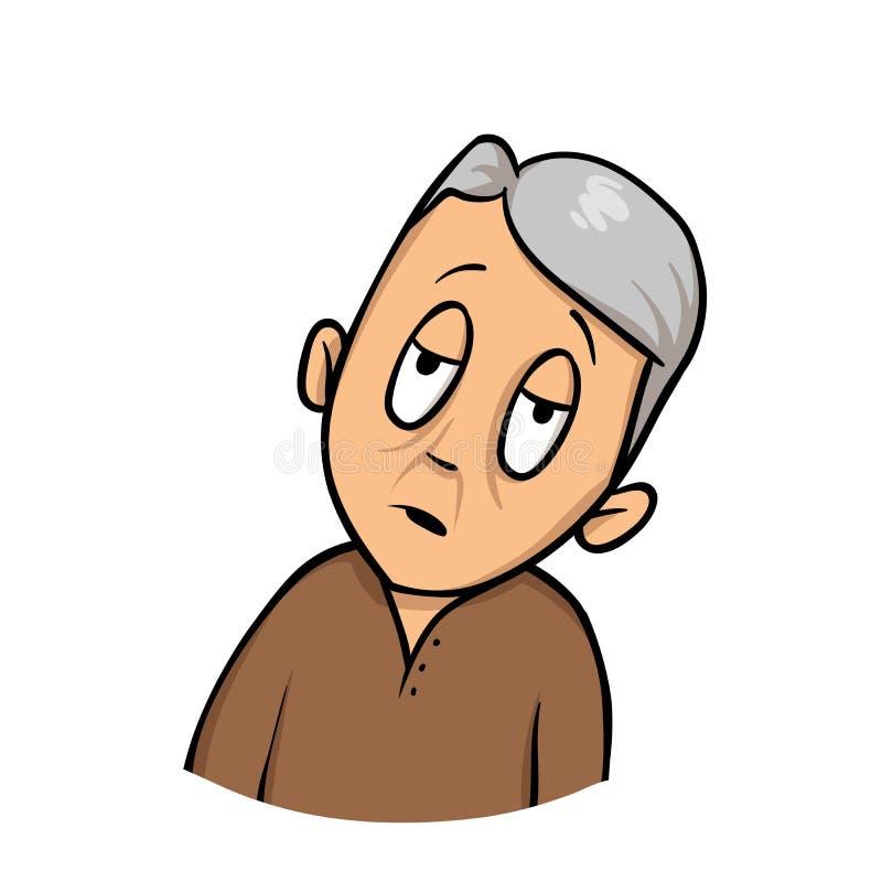 Älterer Bürger, der ermüdet oder schwach sich fühlt Flache Designikone Flache Vektorillustration Getrennt auf weißem Hintergrund lizenzfreie abbildung