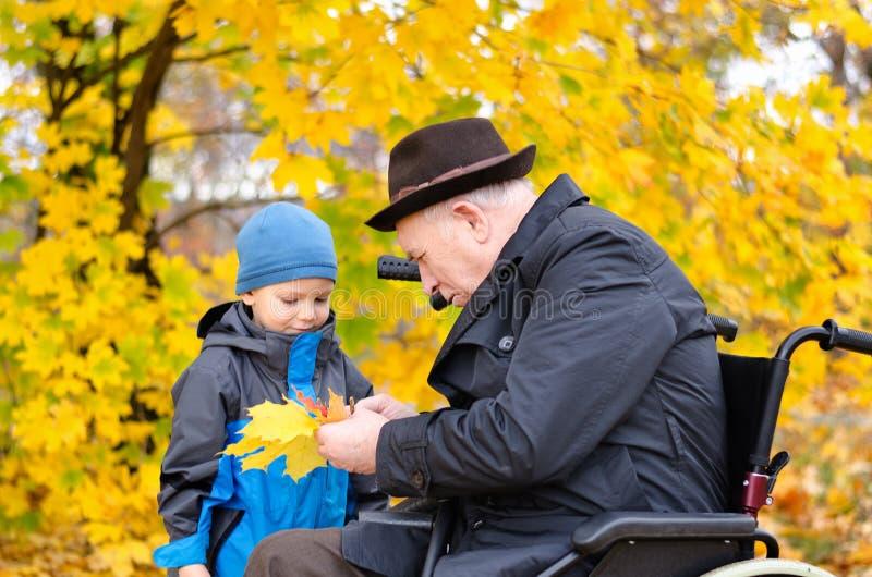 Älterer behinderter Mann, der draußen mit seinem Enkel spielt lizenzfreie stockfotografie