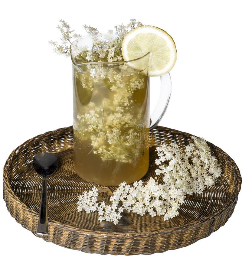 Älterer Blumensaft mit Zitrone stockfotografie