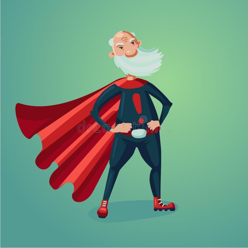 Älterer erwachsener Mann in der Superheldklage mit rotem Kap Gesunde Lebensstilhumor-Karikaturillustration stock abbildung