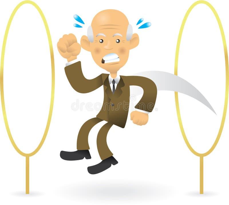 Älterer Geschäftsmann, der durch Bänder springt lizenzfreie abbildung