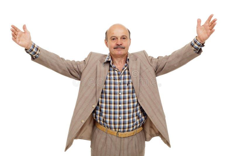 Älterer Geschäftsmann verbreitete seine Arme weit lizenzfreie stockfotos