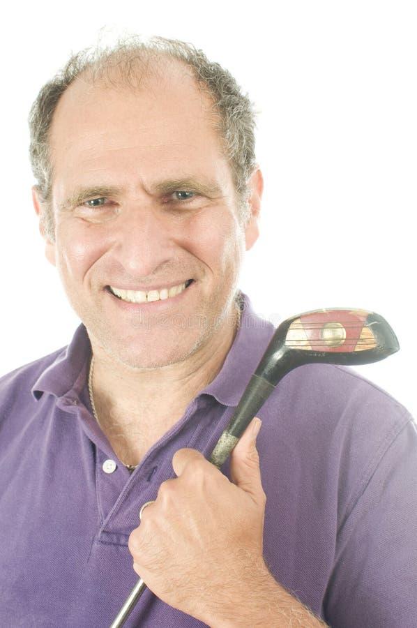 Älterer Golfspielermann-Holz-Golfclub stockbild