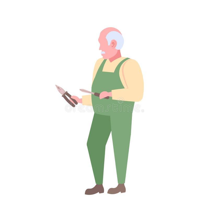 Älterer Haupt- oder Schlosserholdingschraubenzieher und Schnitt des Zangenmechanikerreparatur-Servicekonzeptmannes im einheitlic stock abbildung