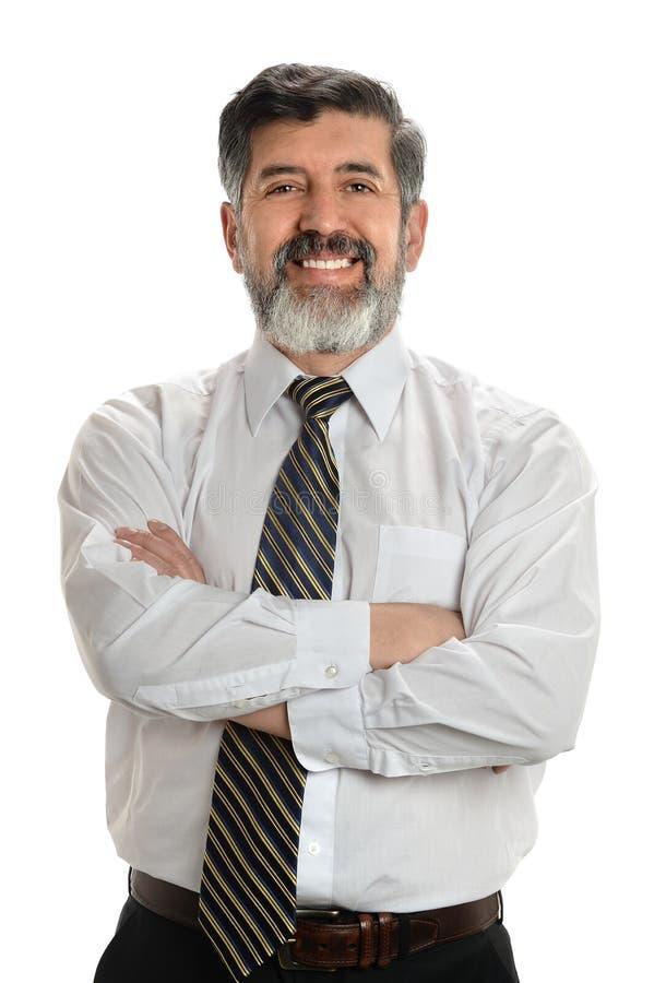 Älterer hispanischer Geschäftsmann Smiling stockbild