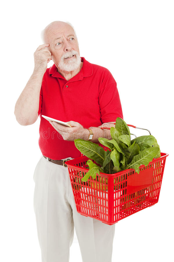 Älterer Käufer - Forgetful lizenzfreie stockbilder