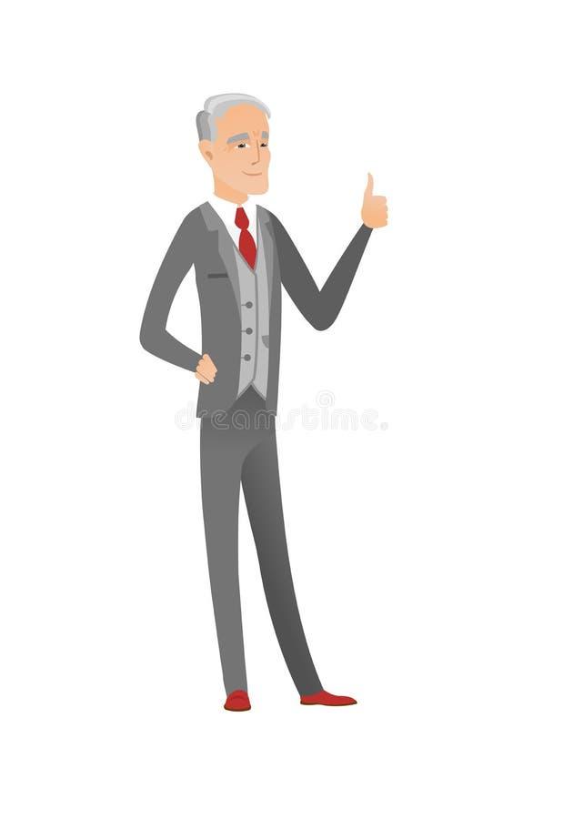 Älterer kaukasischer Geschäftsmann, der Daumen aufgibt stock abbildung