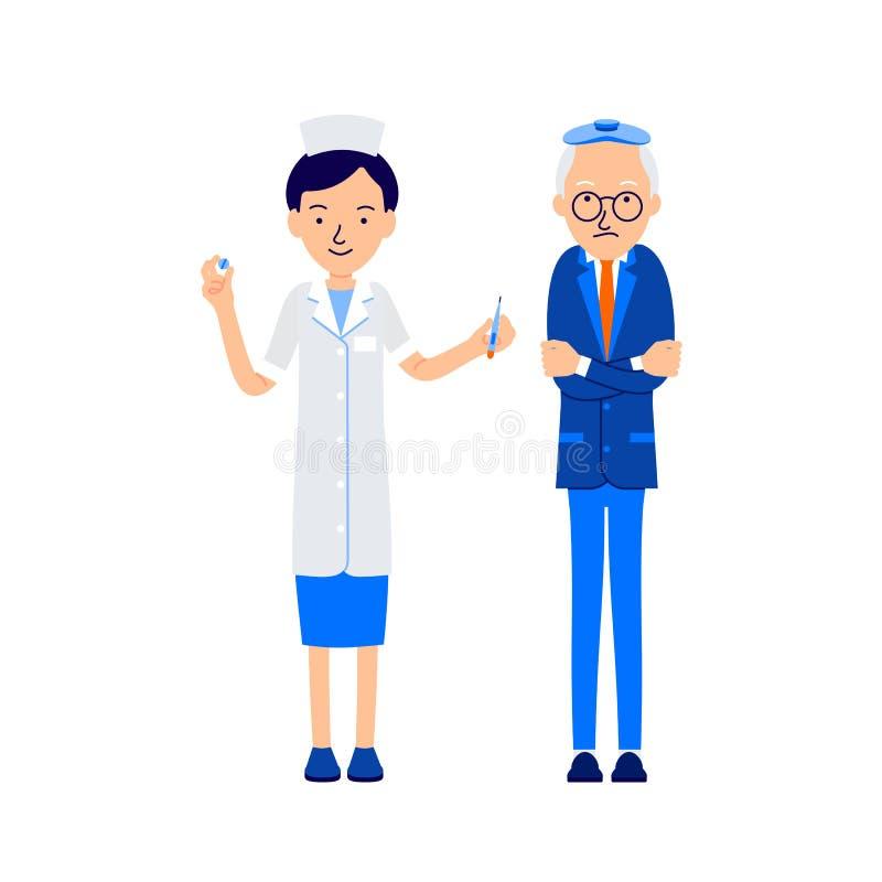 Älterer Mann in den Schauern, Patient umarmte sich mit seinen Händen, an stock abbildung