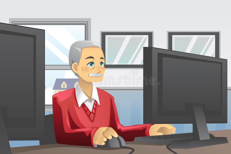 Älterer Mann, der Computer verwendet stock abbildung