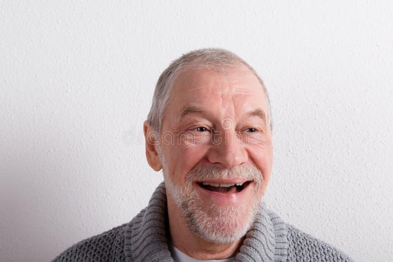 Älterer Mann in der grauen woolen Strickjacke, Atelieraufnahme lizenzfreies stockbild