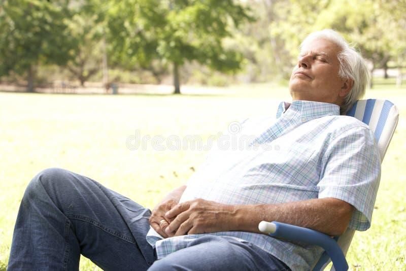 Älterer Mann, der im Park sich entspannt lizenzfreie stockfotos