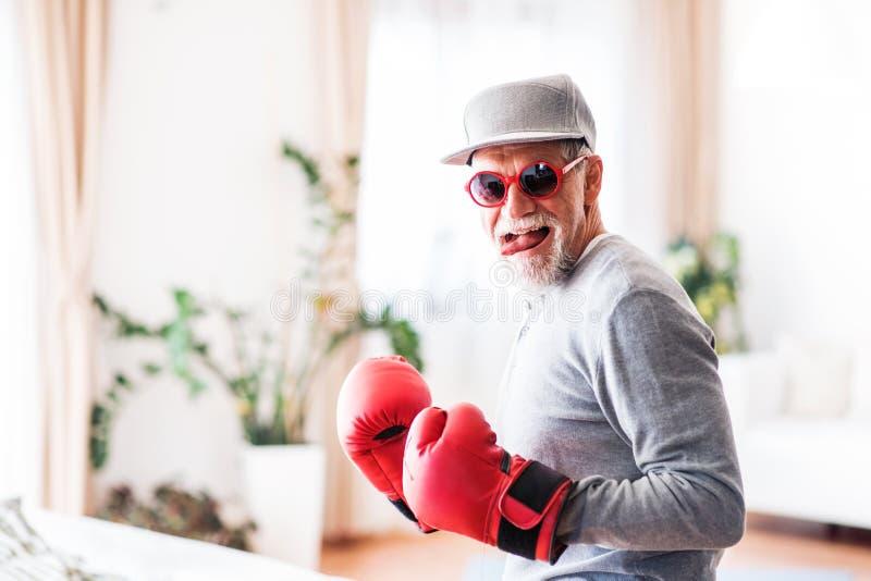Älterer Mann, der Spaß zu Hause hat lizenzfreie stockfotografie