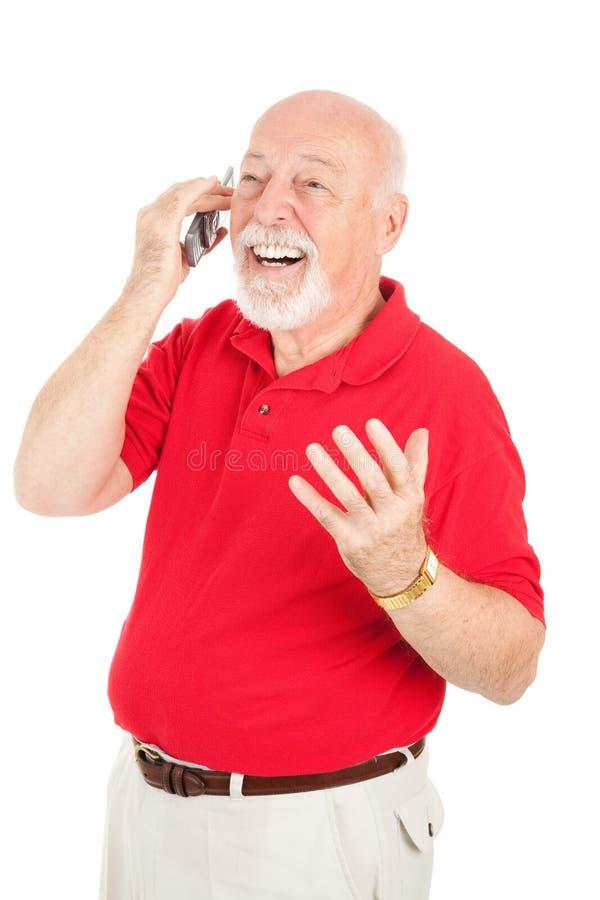 Älterer Mann im Mobiltelefon-Gespräch stockbild