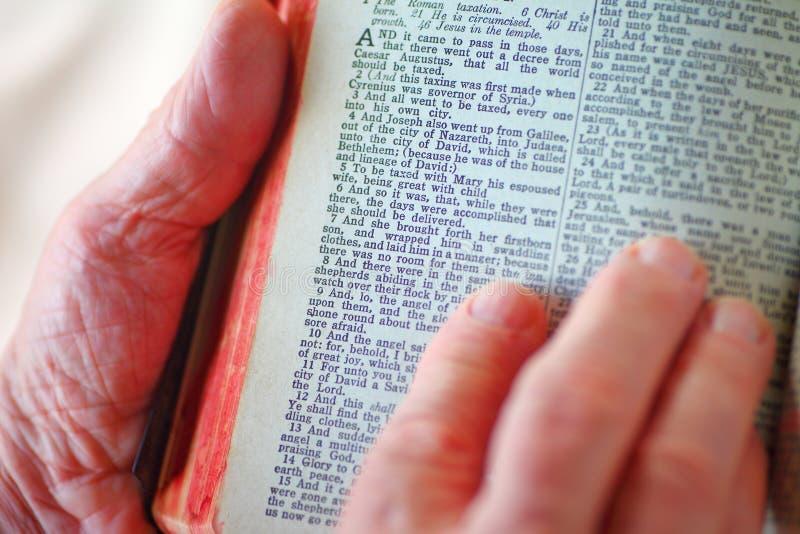 Älterer Mann liest Luke-Kapitel in der Bibel stockfoto
