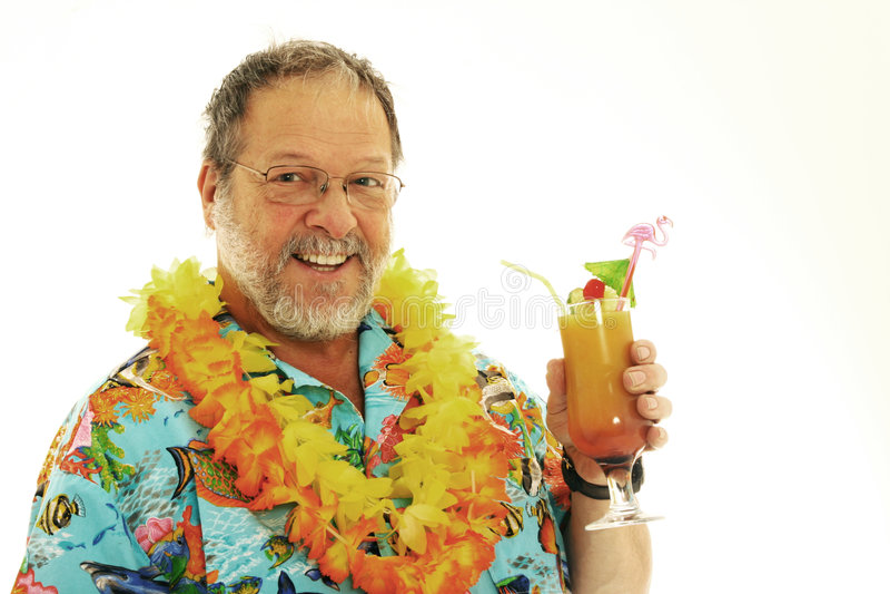 Älterer Mann mit Cocktails stockbild