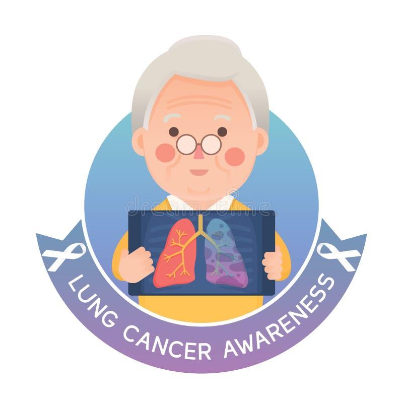 Älterer Mann mit Lung Cancer Awareness stock abbildung