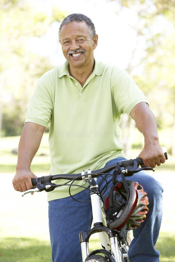 Älterer Mann-Reitfahrrad im Park stockbild