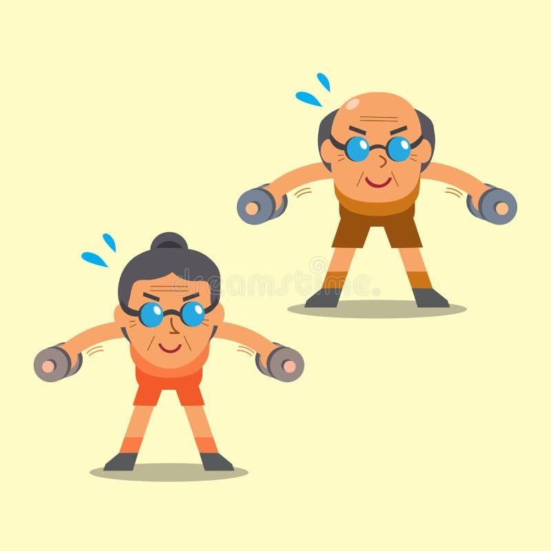 Älterer Mann und die Frau der Karikatur, die Dummkopf tut, verbogen über seitliche Erhöhungsübung stock abbildung
