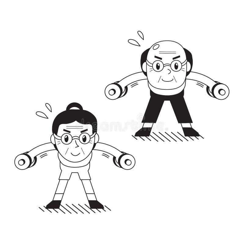 Älterer Mann und die Frau der Karikatur, die Dummkopf tut, verbogen über seitliche Erhöhungsübung lizenzfreie abbildung