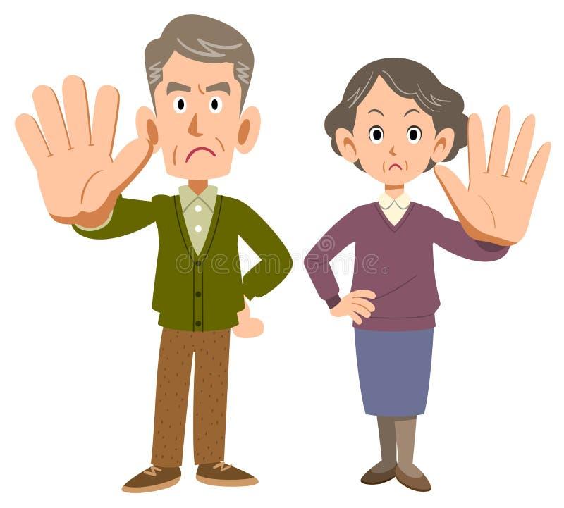 Älterer Mann und Frau, die Ablehnung aufwerfen lizenzfreie abbildung