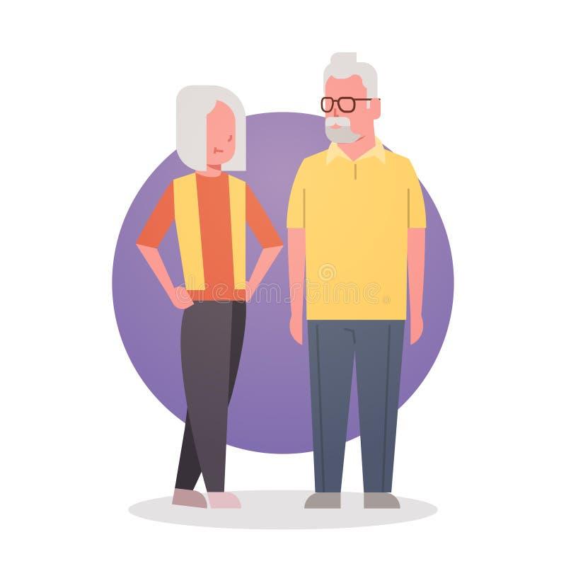 Älterer Mann-und Frauen-Paar-Großmutter und Grandfathr Gray Hair Icon Full Length vektor abbildung