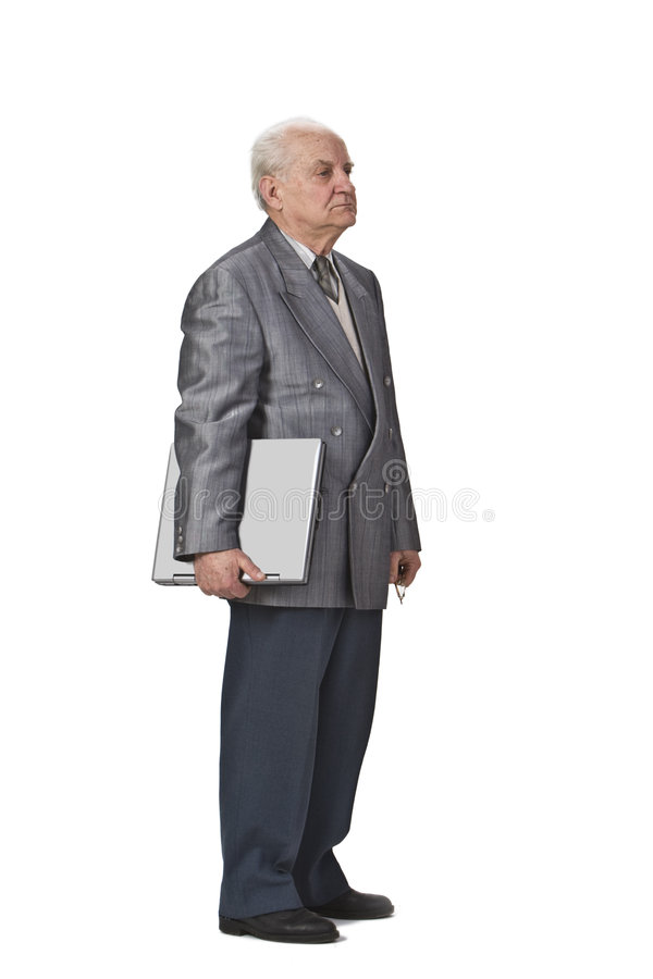 Älterer mit einem Laptop stockfotografie