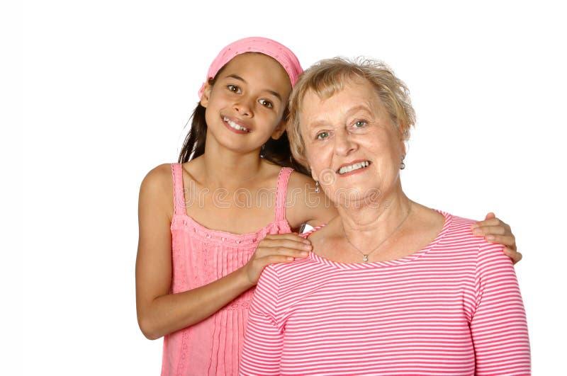 Älterer mit ihrem grandaughter lizenzfreies stockfoto