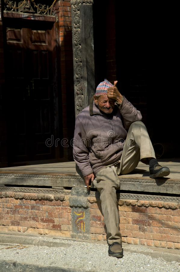 Älterer Nepalese stockfotos