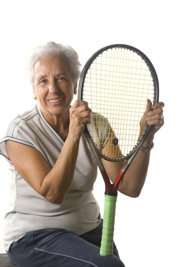 Älterer Tennisspieler lizenzfreie stockfotos