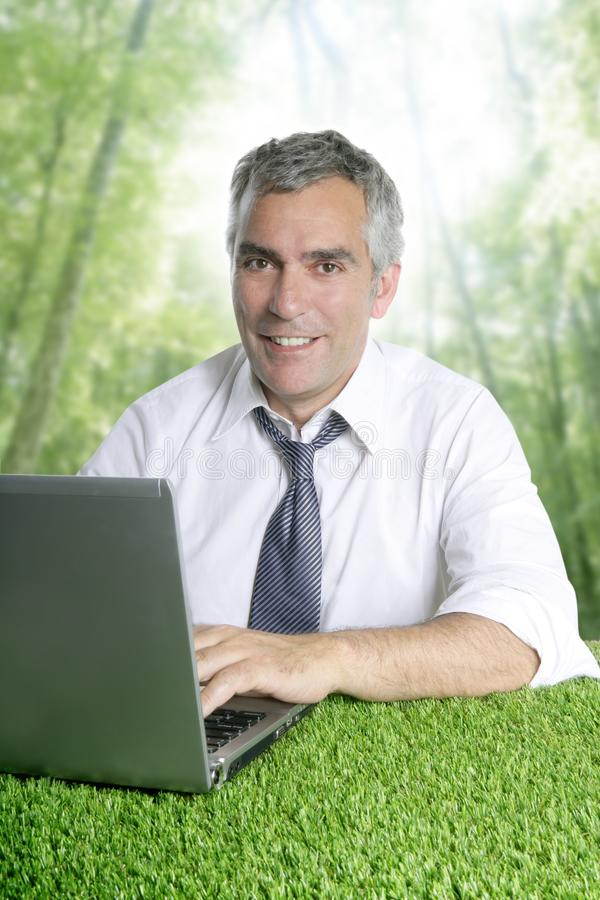 Älterer Wald des grünen Grases der Geschäftsmannarbeit stockfotos