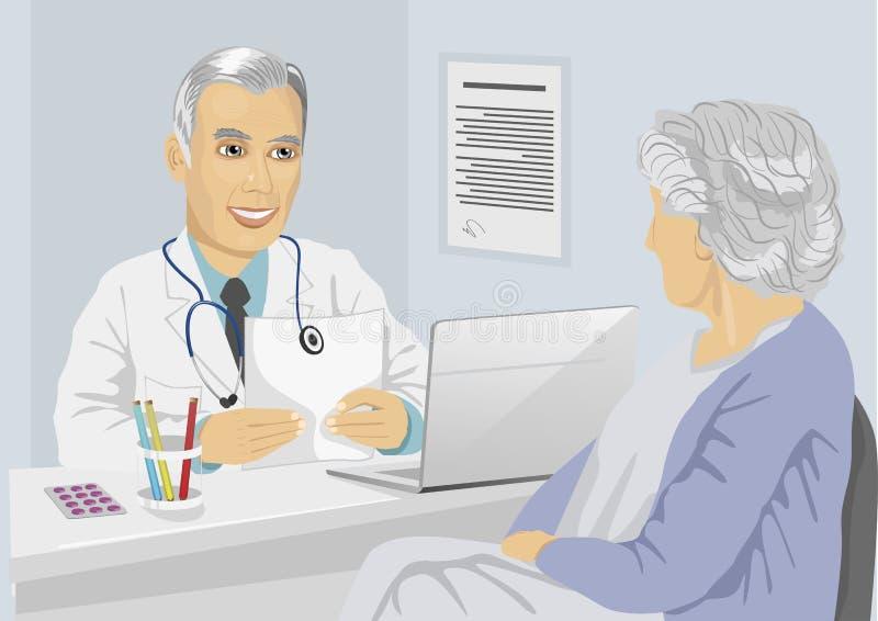Älterer weiblicher Patient, der Beratung mit reifem Doktor im Büro hat lizenzfreie abbildung