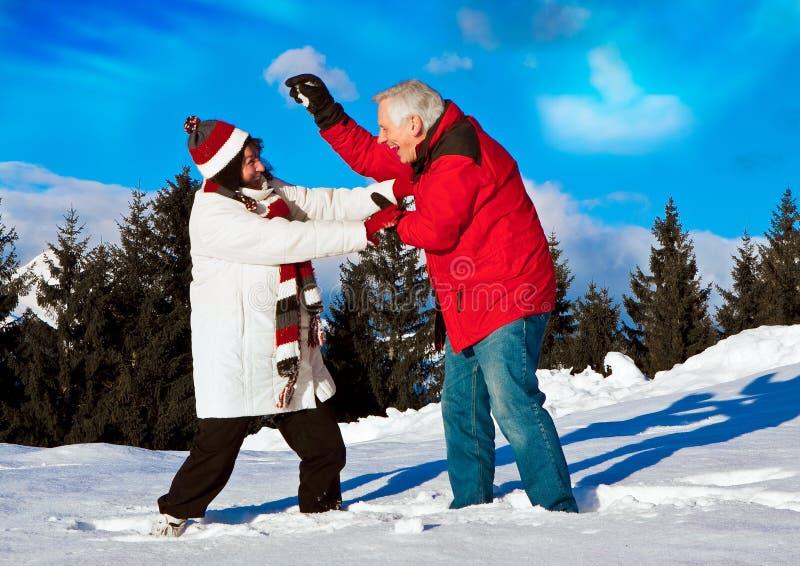 Älterer Winterspaß 9 stockbild