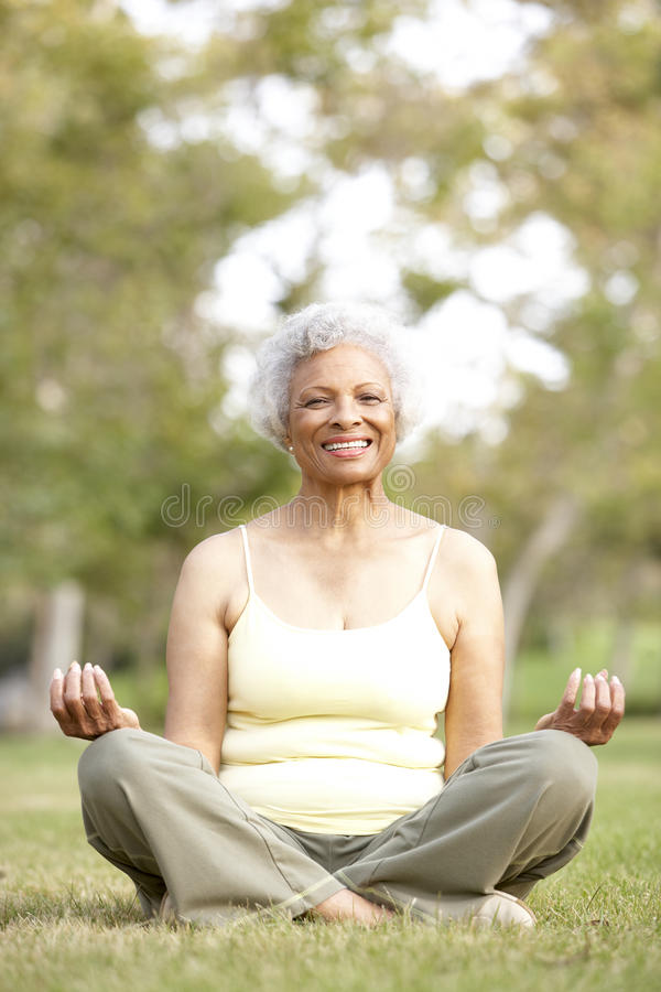 Älteres Frauen-Yoga im Park lizenzfreie stockfotografie
