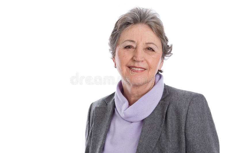 Älteres Frauenporträt - ältere Frau lokalisiert auf weißem Hintergrund lizenzfreie stockfotografie