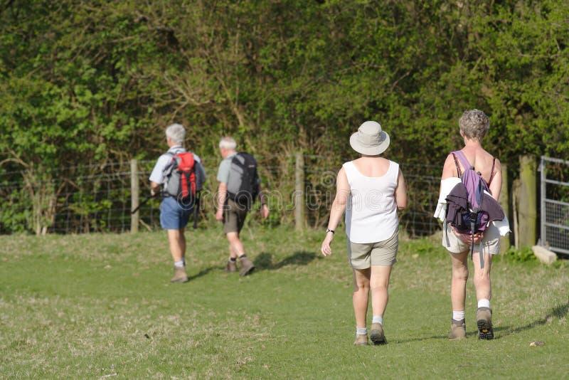 Älteres Leutegehen stockbilder