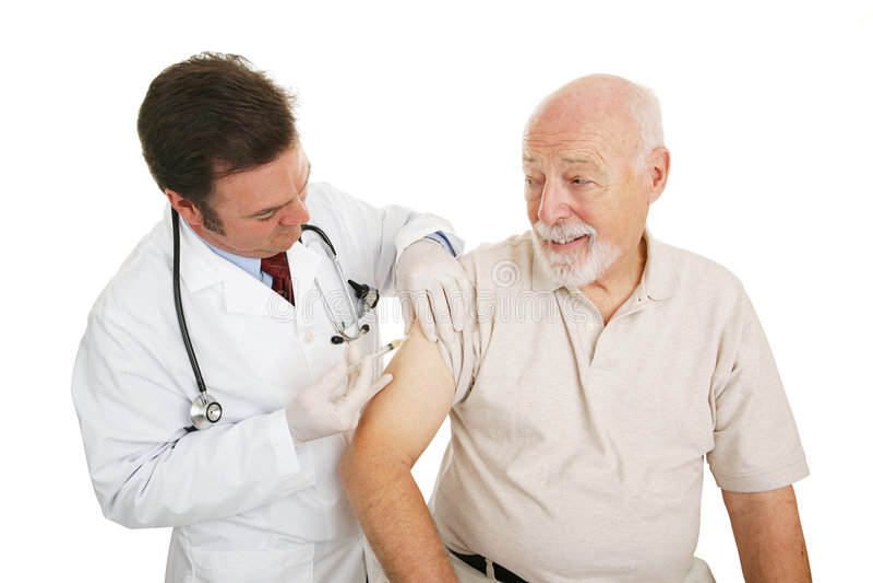 Älteres medizinisches - Grippeimpfung stockfotos