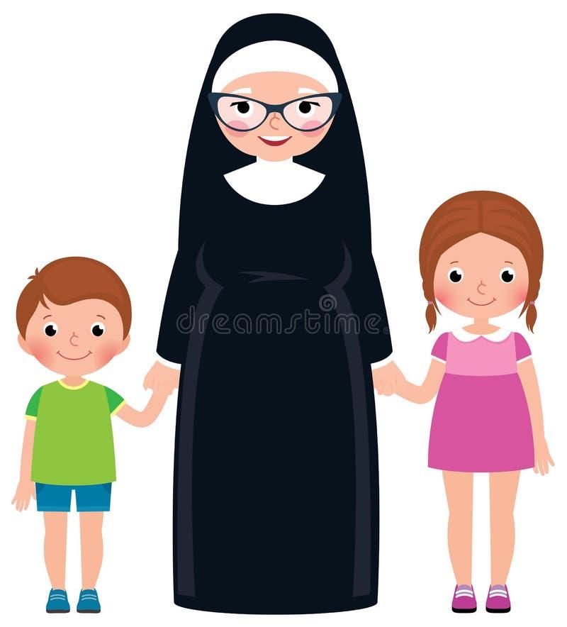 Älteres Nonnenhändchenhalten Junge und Mädchenkinder stock abbildung