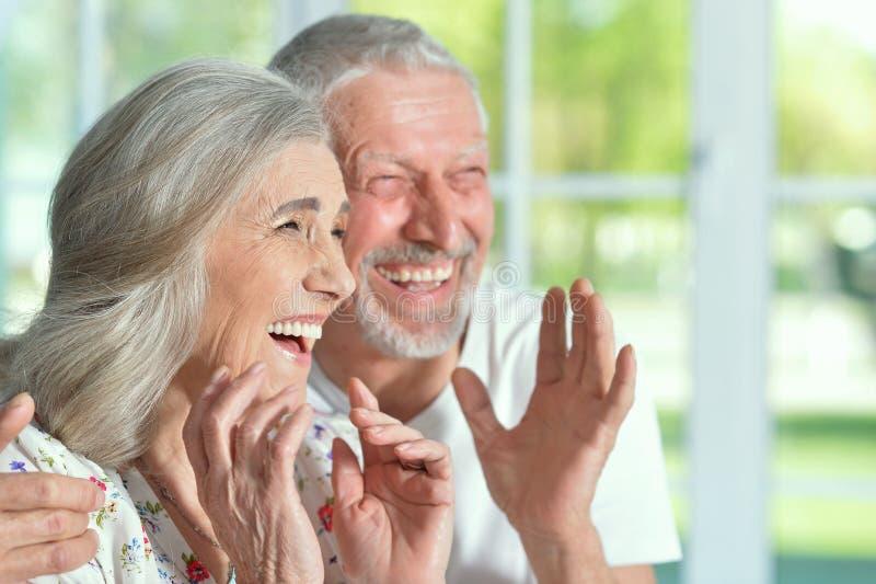 Älteres Paarlachen stockbild