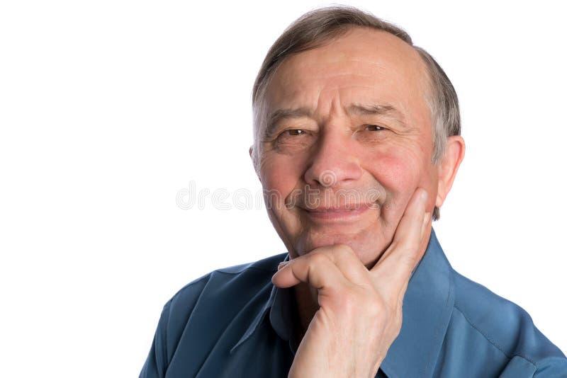 Älteres reifes Mannmännerbildnislächeln stockfotografie